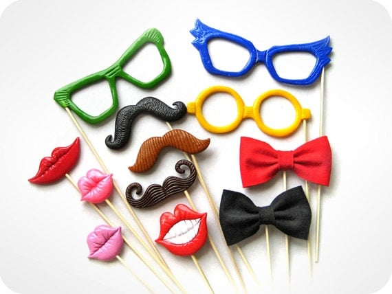 Wedding PhotoBooth Props - 12 Piece Party Photo Props Set - Photo Booth Props