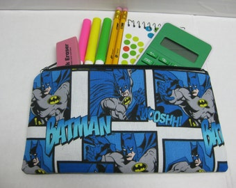 Batman Super Hero Comic Book Pencil Case, Zipper Pouch