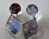 Vintage Iridescent Earrings Long and Fabulous for Pierced Ears