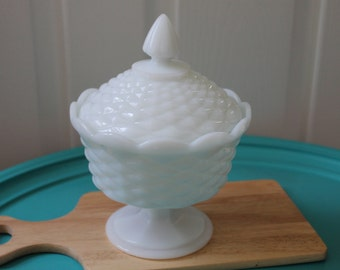Vintage Milk Glass Dish--Honeycomb Milk Glass Dish with Lid--Collectible Milk Glass