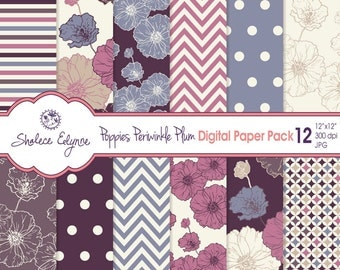 Digital Floral Paper Pack, Poppies in Periwinkle & Plum, 12x12 Instant Download