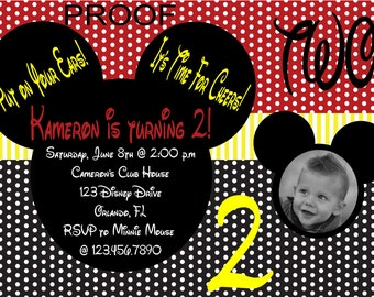 Mickey Inspired Photo Invitations
