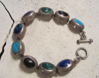 Vintage Jewelry Multi Stone Bracelet Sterling Silver Link Bracelet Turquoise Jewelry