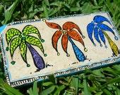 Palm Tree trivet/spoon rest hand painted tile