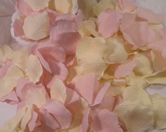Pink and Cream / Rose Bulk Flower Petals 200 Artificial Petals, Blush Pale Pink and Cream Wedding, Flower Girl Basket Petals, Craft Supplies