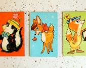 Vintage 1960's Deer Skunk Fox Illustrated Magnet Set