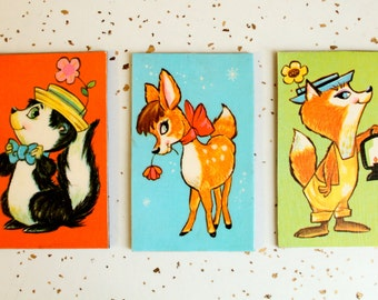 Vintage 1960's Deer Skunk Fox Illustrated Magnet Set