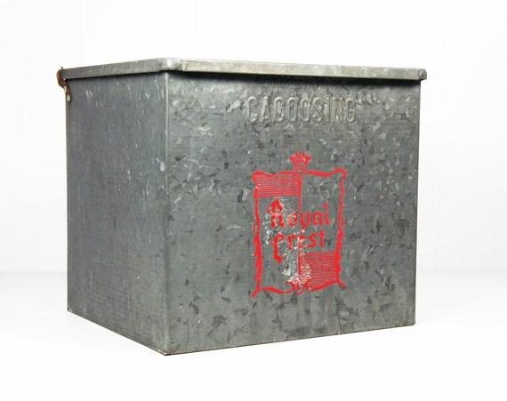 vintage 1960 39 s galvanized metal milk storage box by hoofandantler. Black Bedroom Furniture Sets. Home Design Ideas