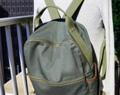 Zan Backpack in Olive Green Twill/ Multi-pockets/ Unisex/ School Bag/  Fashion Bag/ Handmade in New York