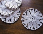 4 Crochet Coasters, Shabby Chic Coasters, Gourmet Gift Idea, Table Decoration, Wedding Couple Gift