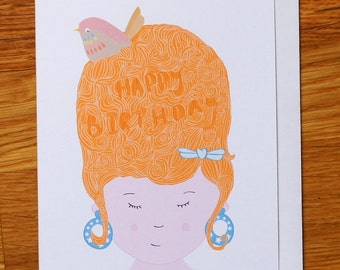 beehive hair style happy birthday card with bird