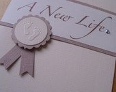 Baby Announcement Cards - set of 5 - A New Life - Cream, Ivory and Taupe - Baby Feet - Neutral - clearance.