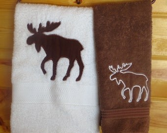 Log Cabin or Lodge North Woods Moose 2 pc Bath Towel Set Rustic Decor