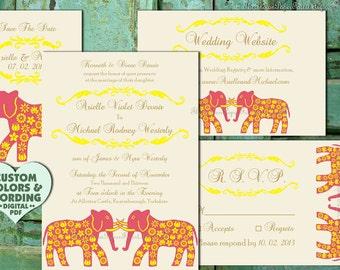 Indian Wedding Invitation Set GRAND ELEPHANT Boho Asian Design Diy Printable / Print Order Destination Punjabi Gujarati Marathi Tamil Nepali