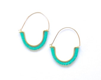 SALE Temple Earrings in Turquoise - Tribal-inspired modern hoop earrings with recycled African vinyl and raw brass