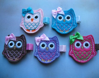 Owl Embroidered Felt Clippies - Felt Hair Clips - Pink Turquoise Brown Purple Hot Pink Owl Hair Bow - Pick Your Color