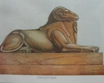 Antique Lithograph Sphinx Print 1911