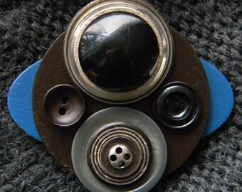Art Brooch - Brown/Blue Circles - Found Object Jewelry by Jen Hardwick