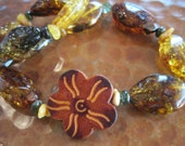 Green Tourmaline Baltic Amber Necklace Raw Organic Ancient Fossil Artisan Handcrafted Jewelry