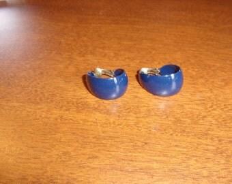 vintage clip on earrings blue metal hoops