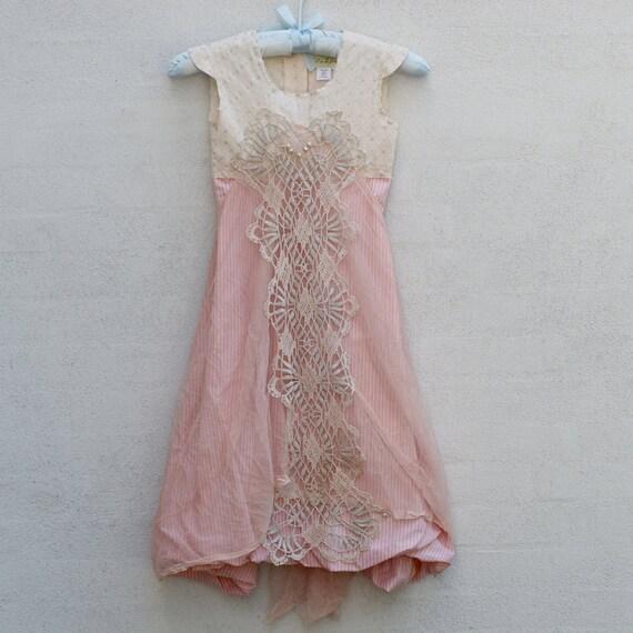 SALE Smoke Rose Flower Girl, Mori Girl, vintage doily, rose pink, 6 years, handmade by textile artist Sadie Ruben
