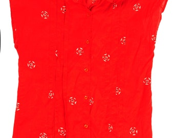 Delicate sheer Japanese fan tissue pleated button down red shirt
