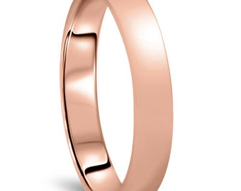 Rose Gold Wedding Band Womens 14K 4MM Dome High Polished Plain Anniversary Ring Size (4-10)