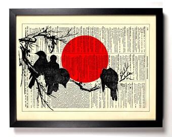 Japanese Woodblock Blackbirds, Home, Nursery, Bath, Office Decor, Wedding Gift, Eco Friendly Book Art, Vintage Dictionary Print 8 x 10 in.