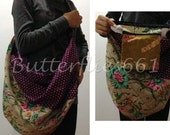 Taupe Plum Floral Patchwork Hippie Gypsy Boho Thai Handmade Batik Cotton Bag