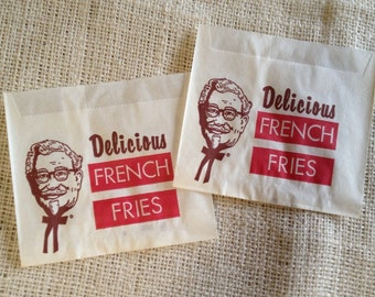 Vintage 1950's KFC French Fry Bags New Old Stock Set of 4