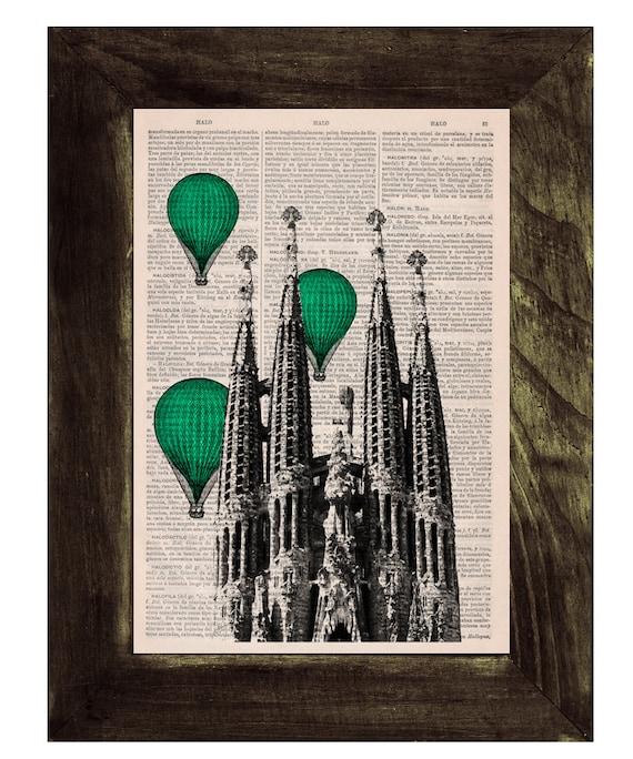 BOGO Sale Vintage Book Print - Barcelona Sagrada Familia green colored Balloons Ride Print on Vintage Book art Gaudi Holy Family TVH024