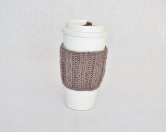Cotton travel cup sleeve brown hand knit