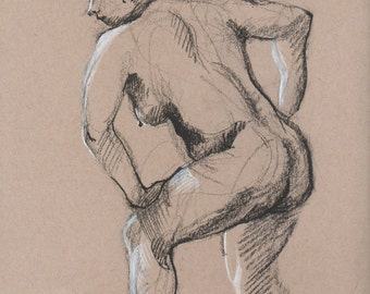 Nude leaning forward - Original Charcoal Pencil Drawing from Life Model