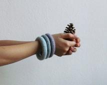 Ombré mint bracelets / felt soft jewelry / shades of mint and purple / eco-friendly / felted wool / Set of three