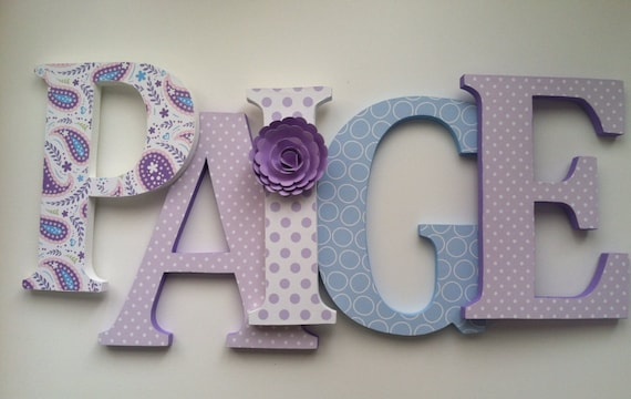 wooden letters for nursery in purple and aqua by summerolivias With purple wooden letters