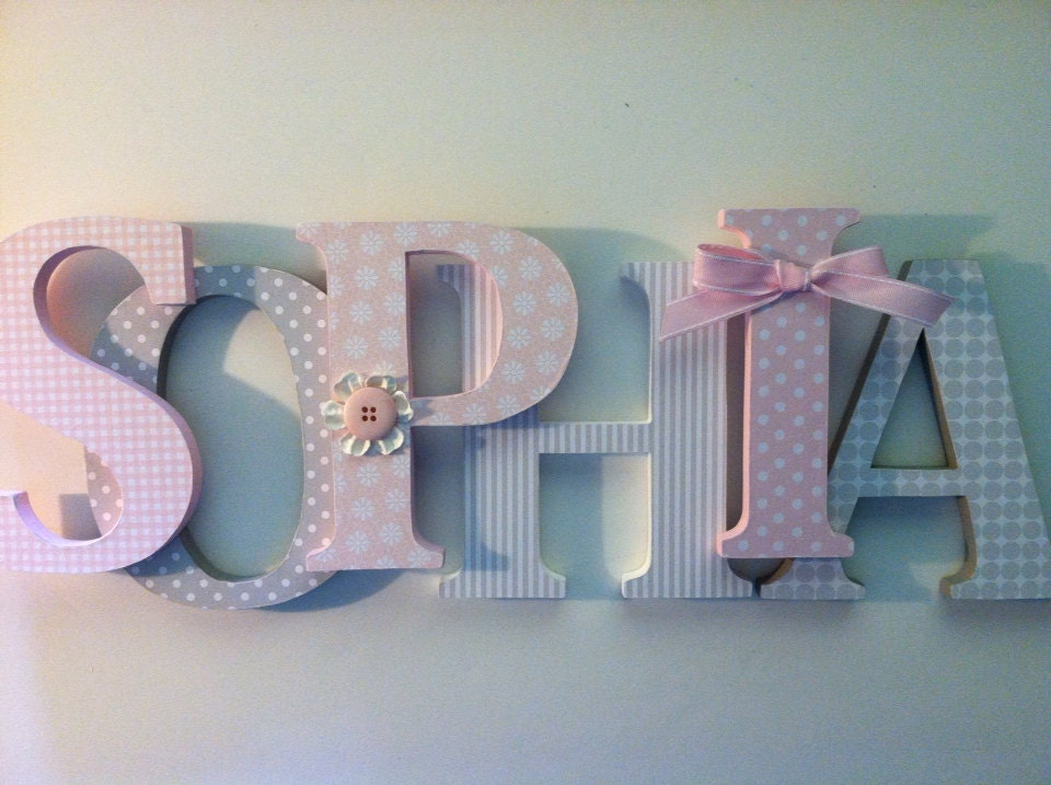 nursery wooden wall letters in pink and gray nursery letters. Black Bedroom Furniture Sets. Home Design Ideas