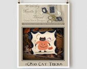 Cat Tricks cross stitch patterns : Country Stitches With Thy Needle & Thread Brenda Gervais Halloween counted hand embroidery