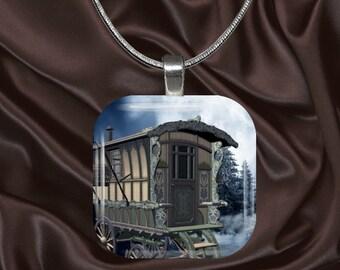 Wandering Caravan Glass tile pendant