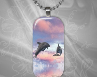 Leaping Dolphins Glass tile pendant