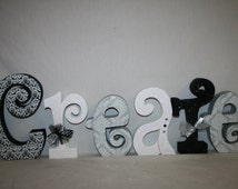 Wood letters black and white freestanding letters 6 wood letters family letters