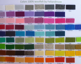 pure wool felt choose any 10 colours