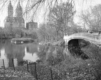 Central Park Photo, New York Photography, Bow Bridge, Black & White, Landscape Print, Nature Photography, New York Home Decor, scenic