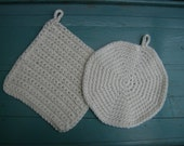 RESERVED for Wes. Two Pot Holders Cotton Crocheted Creamy Off-White Set of 2