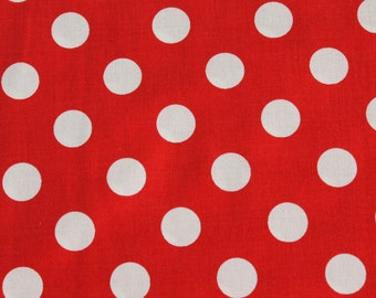 Red and White Polka Dot Chevron Cotton Riley Blake Fabric. - Aprons, vintage apparel, headbands, dresses, skirts, totes,  baby blankets .