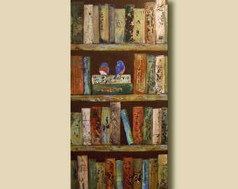 "Large Books and Love Birds Painting, 18"" x 36"" Custom Couples Wall Art Painting"
