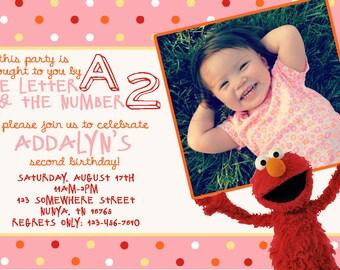 Elmo Birthday Invitation: 4x6 PRINT-YOUR-OWN (colors editable)