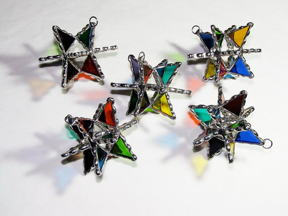 Stained Glass Suncatcher - Gift Boxed 3D Star Design, Multi Colored, Christmas Holiday Ornament