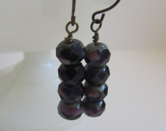 English Violet Beaded Dangle Earrings