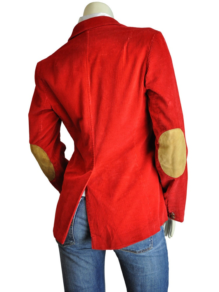 Elbow Patch Red Corduroy Women S Blazer By Rockitagainvintage