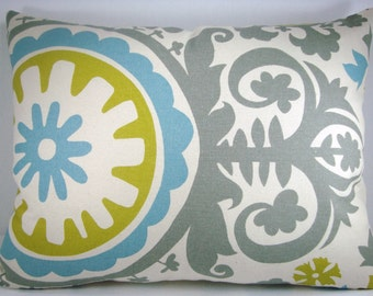 Suzani Decorative Accent Lumbar Pillow Aqua/Grey/Citrine 14X18
